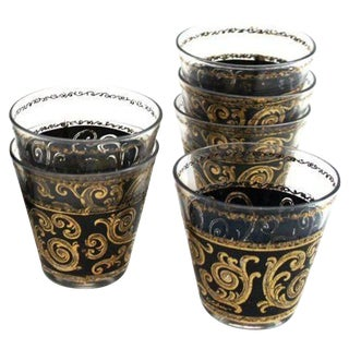Black and Gold Cocktail Glasses - Set of 5