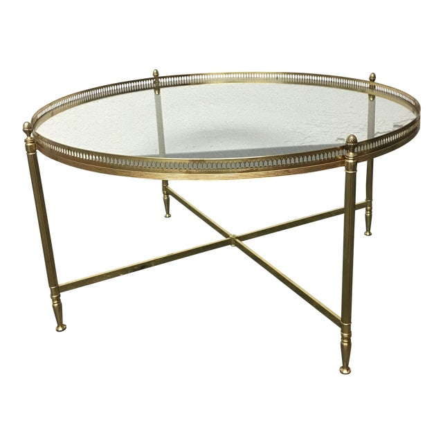 Antique Gold Coffee Table: Vintage Gold Coffee Table With Glass Top