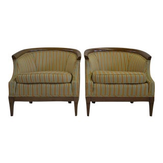 Striped Barrel Back Chairs - A Pair