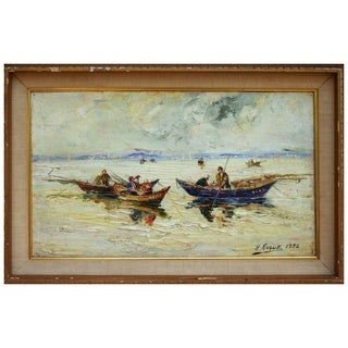 """Fishing Boats"" Painting by Henri Roque"