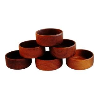 Mid-Century Teakwood Salad Bowls - Set of 6