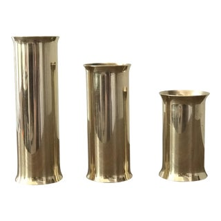 Danish Modern Mid-Century Brass Candle Holders - Set of 3