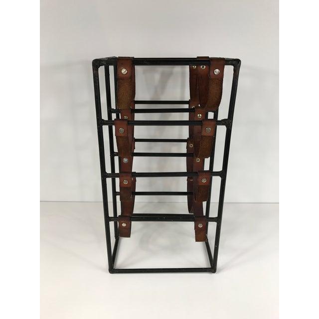 Arthur Umanoff Wrought Iron & Leather Wine Rack - Image 4 of 5