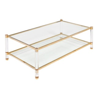 Mid-Century Lucite and Brass French Coffee Table