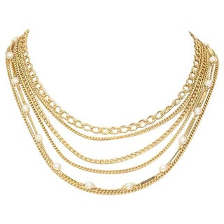 Vintage Layered Chain & Pearl Necklace