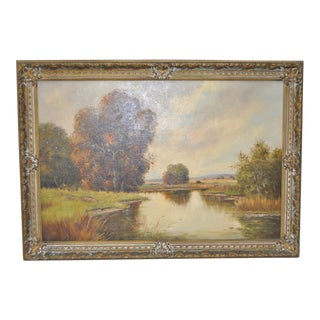 C.1930s German Country Landscape Oil Painting by Pillinger