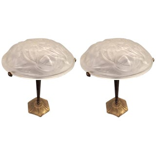 Degue Signed French Art Deco Table Lamps - A Pair
