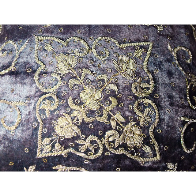Embroidered Purple Velvet Pillow - Image 4 of 5