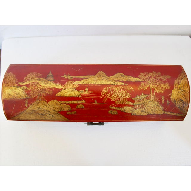 Chinese Orange Leather Tabletop Trunk - Image 5 of 8