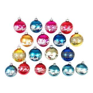 Vintage Shiny Brite Stencil Christmas Ornaments - Set of 19