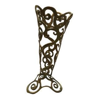 Ornate Brass Cone Vase