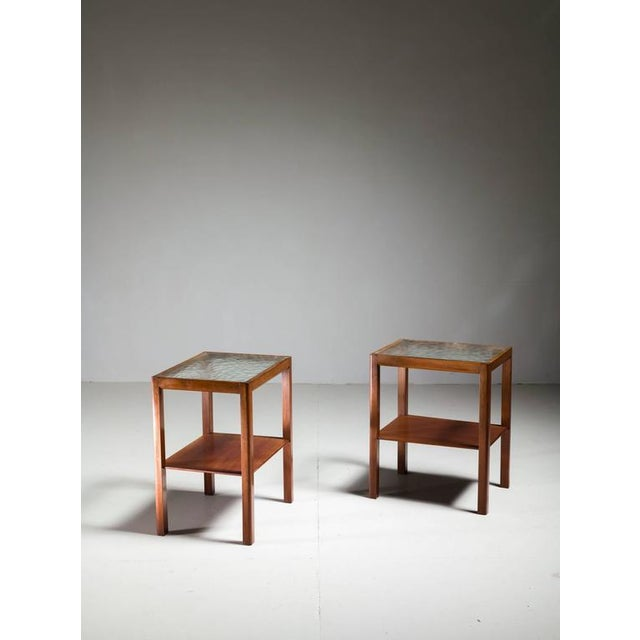 Image of Thorald Madsen Pair of Mahogany Side Tables with Glass Top, Denmark, 1930s