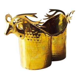 Vintage Brass Deer Vase