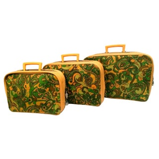 Vintage Paisley Marigold Suitcases - Set of 3