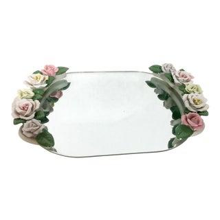 Vintage Mirrored Porcelain Floral Vanity Tray