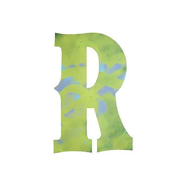 Large Lime-Yellow Metal Marquee Letter R - Image 2 of 2