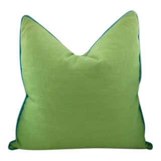 Lime Green With Turquoise Contrast Welt Pillow