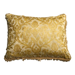 Fortuny Gold & Red Reversible Silk Pillow with Fringe