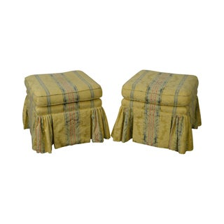 Custom Upholstered Yellow Striped Ottomans - A Pair