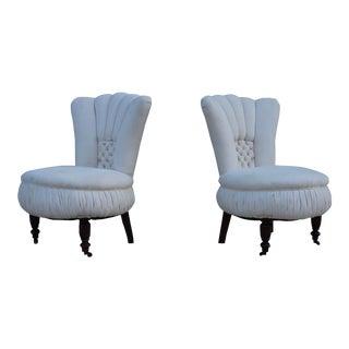 19th Century English Slipper Chairs - a Pair