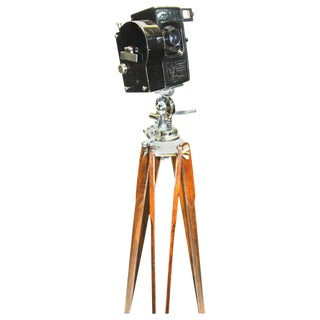 Andre Debrie Circa 1923 Sept. Model 35mm Cinema Camera on Tripod As Sculpture