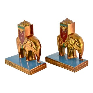 1920s Gold Elephant Bookends - A Pair