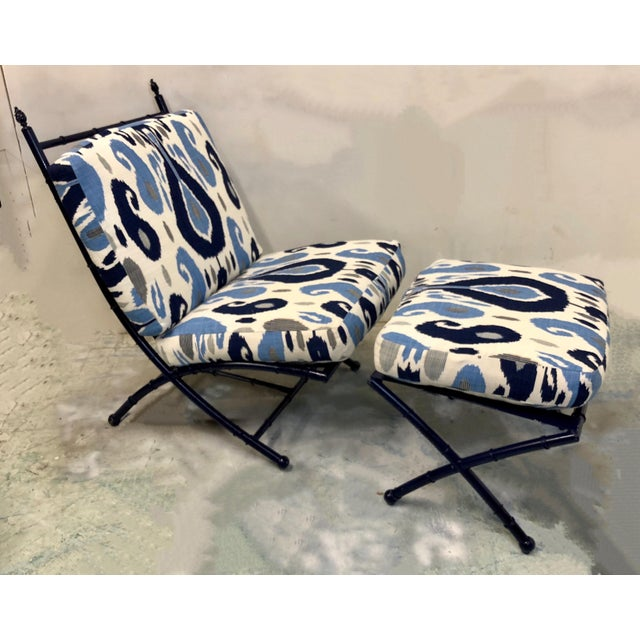 Faux Bamboo Chaise in Ikat - Image 4 of 5