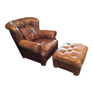 Restoration Hardware Buster Chair & Ottoman - A Pair