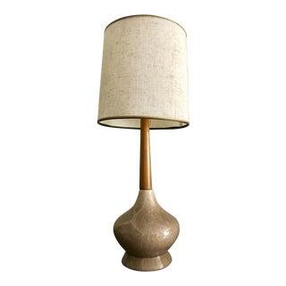 Mid-Century Modern Teak & Ceramic Lamp
