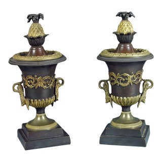 Bronze and Ormolu Candlestick Urns with Reversible Tops