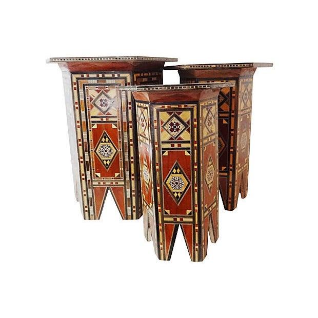 Image of Middle Eastern Veneer Side Tables - Set of 3
