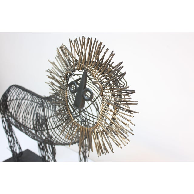Brutalist Style Lion Wire Scupture - Image 6 of 11