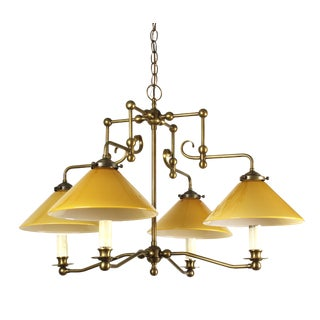 Vintage Billiard Style Brass Chandelier With Amber Cased Glass Shades
