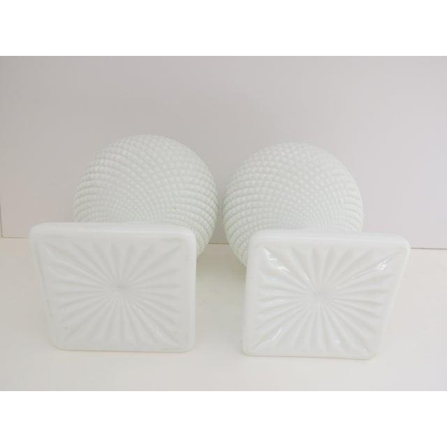 Milk Glass Diamond Point Vases - A Pair - Image 4 of 5