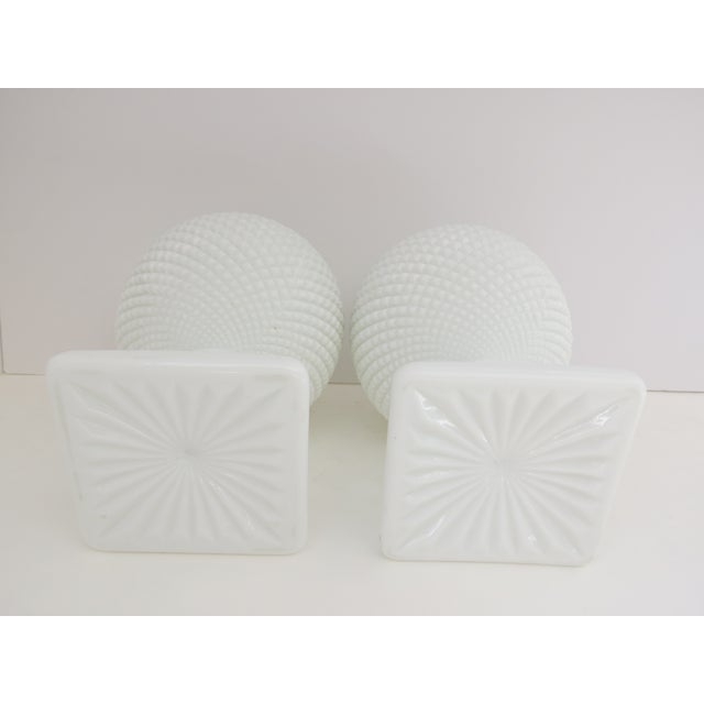 Image of Milk Glass Diamond Point Vases - A Pair
