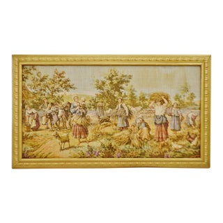 "Early Framed French Tapestry Country Scene 40"" x 23"""