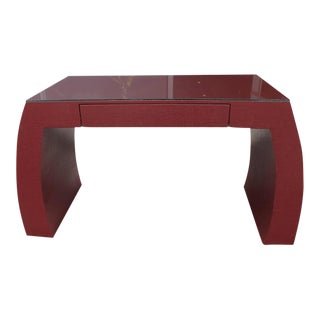 Karl Springer Style Hollywood Regency Red Grasscloth Ming Console Table