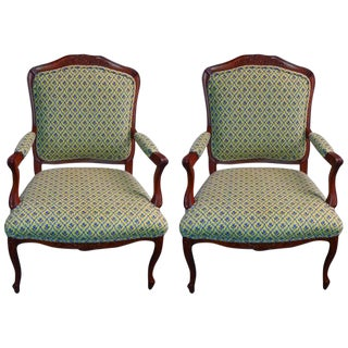 Louis XV Style Scalamandre Tapestry Upholstered Armchairs- A Pair