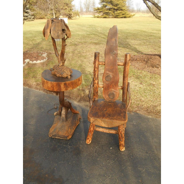 Antique Rustic Burl Wood Throne Chair - Image 5 of 6