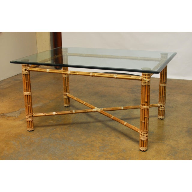 Bamboo Square Table: McGuire Reeded Bamboo Rectangular Dining Table
