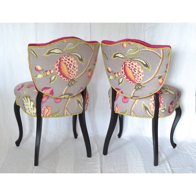 Tufted Velvet Vintage French Chairs - a Pair - Image 3 of 7
