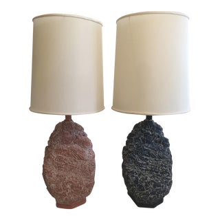 Brutalist Faux Stone Table Lamps - Set of 2