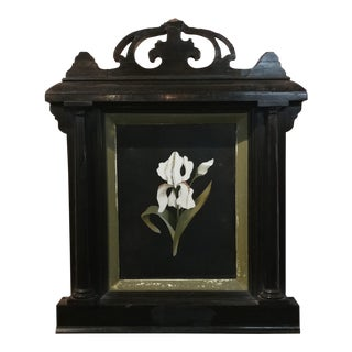 Antique Italian Pietradura White Orchid Painting With Ebonized Frame