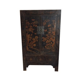 Chinese Black & Gilt Lacquered Armoire