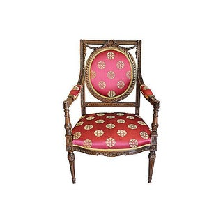 French Regence Red & Carved Wood Fauteuil Armchair