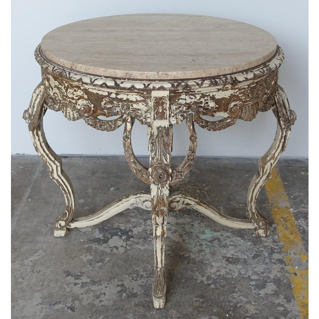 French Carved & Painted Stone Top Table - Image 4 of 10