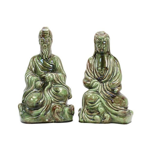 Image of Mid-Century Ceramic Asian Couple - A Pair