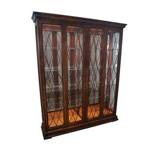 Henredon Charles XV Burl Wood Lighted Curio Display Cabinet