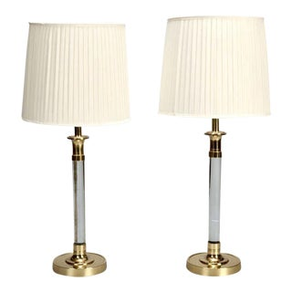 Pair Tall Mid Century Lucite and Brass Table Lamps
