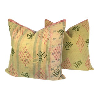 Vintage Kantha Quit Pillows - a Pair